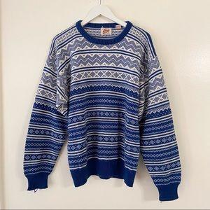 Vintage Grandpa Sweater Blue White Fair Isle Nordic Print Chunky Oversized Bog